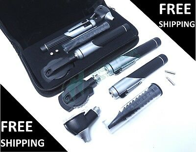 Dual Handle Led Fiber Optic Otoscope Ophthalmoscope Diagnostic Ent Set- Black