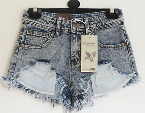 Ladies women Snow wash Acid Blue Frayed Distressed  Denim Hotpants/Shorts sz6-14