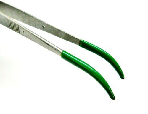 "8"" Curved Tip Tweezers PVC Bent Tip Jewelry Hobby Crafts Soft Tips Part Handling"