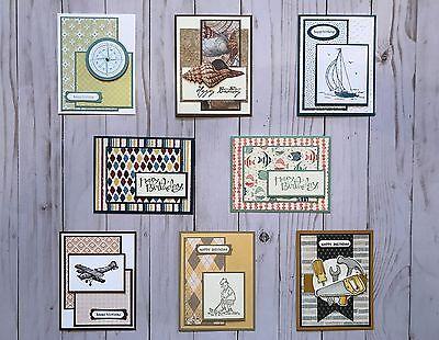 8 Handmade Men's Birthday greeting cards/envelopes Stampin' Up! +more