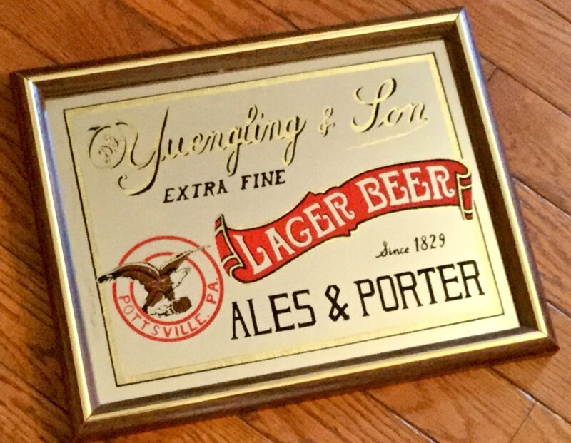 Vintage Yuengling Beer Glass Sign Mirror Porter Advertising Old Display Bar