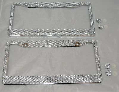 2 All White Silver Bling Glitter Crystal RhineStone License Plate Frame Car - Cars Plates
