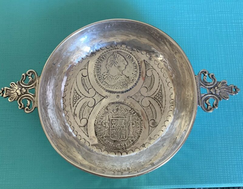 Large Spanish Silver WINE TASTER TASTEVIN Two COINS