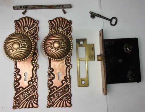 Antique Set EASTLAKE VICTORIAN Art Nouveau Backplate Door Knob Mortise Lock Key