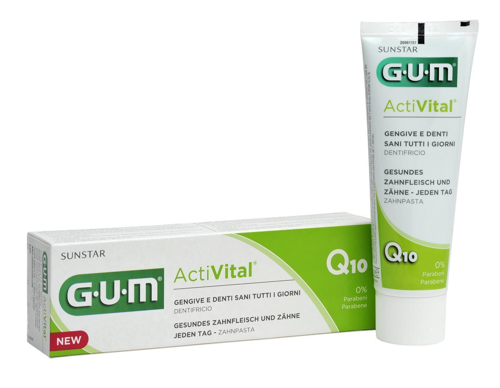 3x GUM ActiVital mit Zahnpasta Q10 - 75 ml Zahnfleisch, Zähne, Zahnschmelz Top!