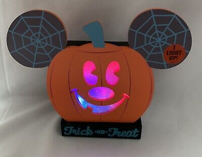 Disney Parks Mickey Mouse Pumpkin Halloween Trick or Treat Light Up Figure NEW