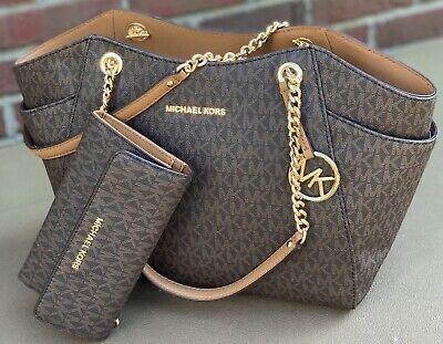 Michael Kors Brown MK  Signature JS Travel Chain  Shoulder Bag Tote and  Wallet