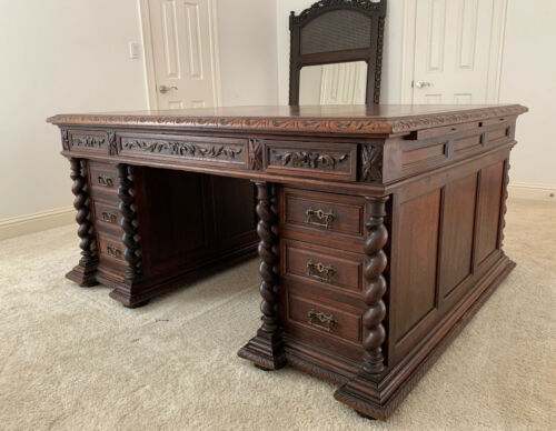 Antique English Carved Walnut Partners Desk Barley Twist Home Office Library