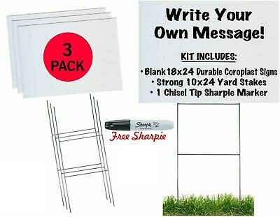 18x24 Durable Blank White Yard Sign Kit 3510 50 100 W Stakesfree Sharpies