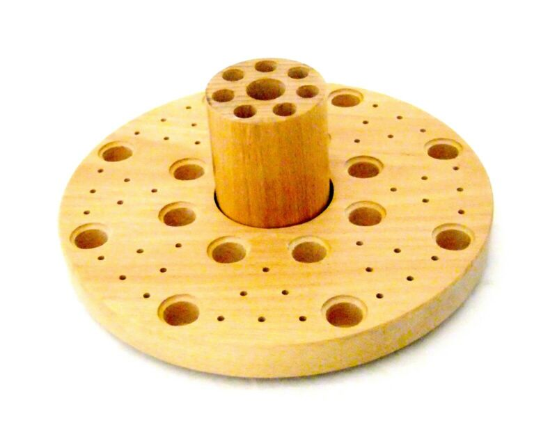 Revolving 72 Hole Solid Wood Bench Top Plier, Tool, Bur, Etc Organizer
