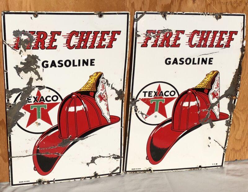 2 Antique Vintage Texaco Fire Chief Gasoline Pump Plate Porcelain Signs 3-5-60