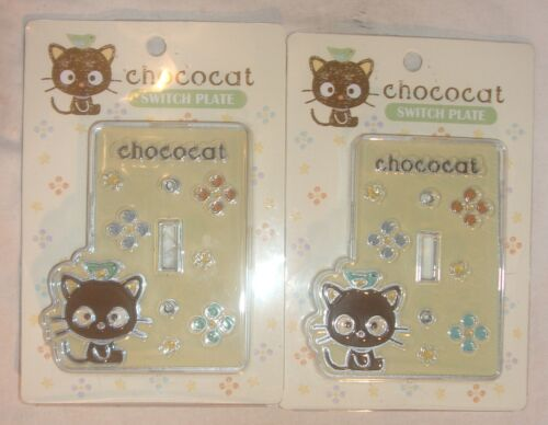 SCARCE LOT OF 2 CHOCOCAT SWITCH PLATES NEW NEVER USED SANRIO FOR A LIGHT SWITCH