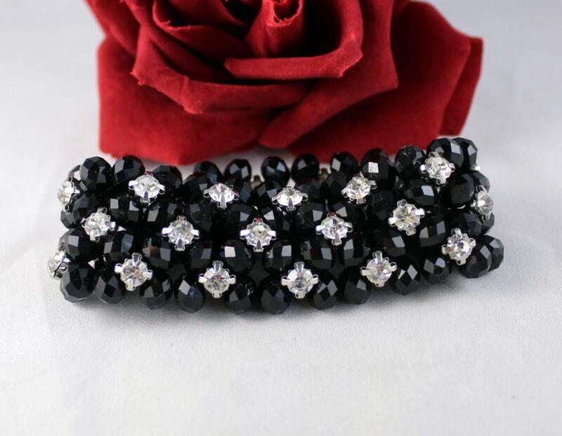 Gorgeous Black Beaded Rhinestone Stretch   Bracelet CAT RESCUE