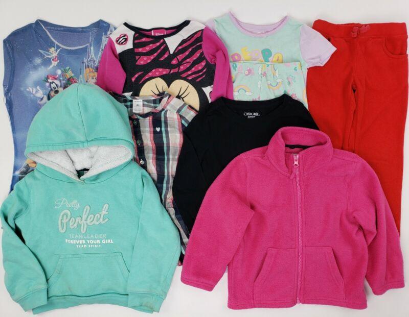 Girls Mixed Clothes Lot Size 4-5 4t Hoodie Minnie Disney Carters Pj Fleece Pink