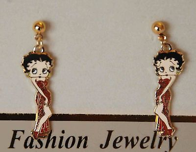 Betty Boop Earrings / Dangling Post or Stud / Red Dress w Gold-tone Accent