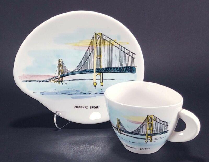 Mackinac Bridge Michigan Mid Century Modern Souvenir Tea Coffee Cup and Saucer