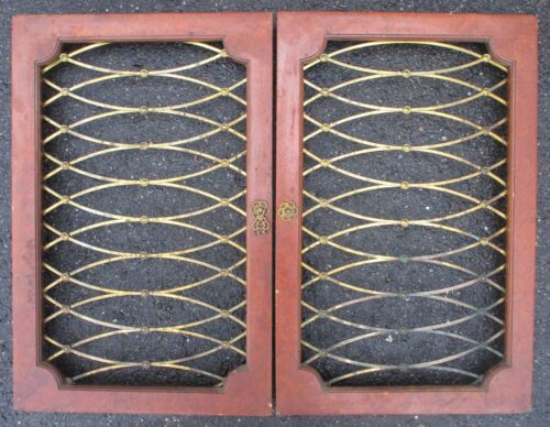 pair of MID CENTURY MODERN CABINET DOORS w/ BRASS GRILL INSERTS 14 1/2 x 22 1/2