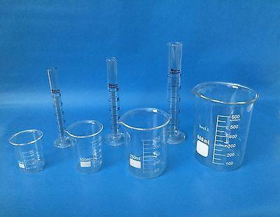 Beakers Set 600ml 250ml 100ml 50ml Cylinder Set 50ml 25ml 10 Ml Lab Glass New