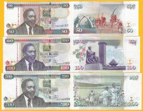 Kenya Set 50, 100, 200 Shillings 2010 UNC Banknotes