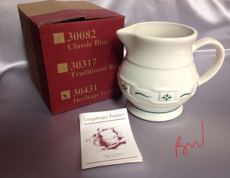 Longaberger Pottery Juice Pitcher Heritage Green