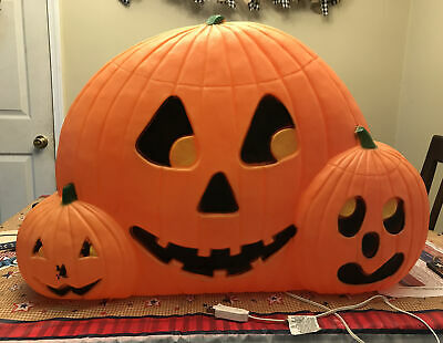 """Union Products Vintage Halloween 31"""" Wide Pumpkin Trio Lighted Blow Mold"""