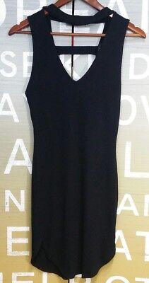 Papaya Sweater Dress Medium Black Choker open back bodycon SEXY NWT