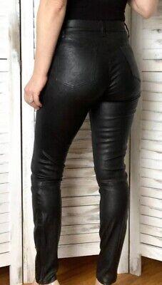 J Brand Real Leather Leggings Uk 10 Skinny Trousers Black Rrp £945