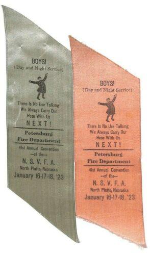 2-1923 Petersburg Nebraska Fire Department 41st Convention North Platte Ribbons