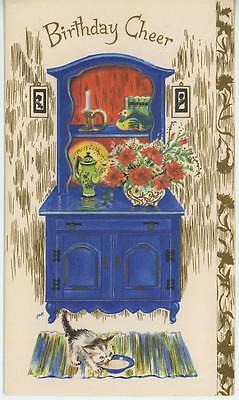 VINTAGE BLUE KITCHEN HUTCH TEAPOT DUCK BOOKEND KITTEN CAT MILK BOWL CARD PRINT