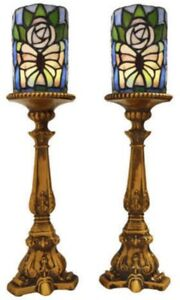 "TIFFANY STYLE 18"" WIRELESS LED BUTTERFLY CANDLESTICKS (2) - FJN"