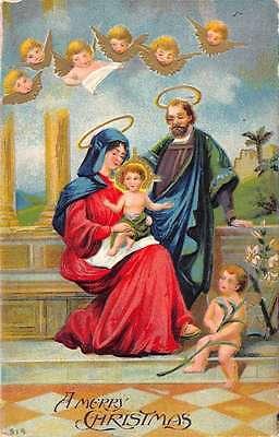 Merry Christmas Religious Jesus Angels Antique Postcard K41579 ()