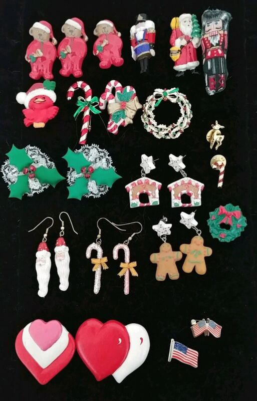 Lot of 23 Vintage Holiday Pins & Earrings Christmas Valentines Teddy Bears Flags