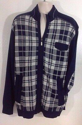VENEZZI Men's Navy Plaid/Check Zip Long Sleeve Elbow Patch Cardigan-2X