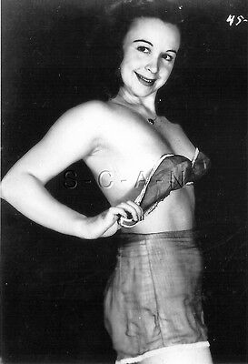 1940s-60s (4 x 6) Repro Semi Nude Pinup RP- Old Fashion Bra & Panties- Big Smile