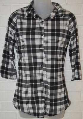 Womens Rue 21 Black   White Plaid 3 4 Sleeve Ltwt  Button Front Blouse Top Xs