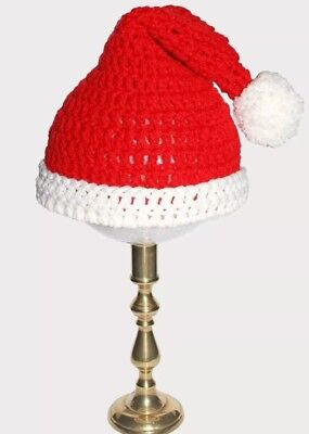 Handmade Christmas Santa Hat Toddler 2-5 Years Old Red White Crochet Knit  (Knit Santa Hat)