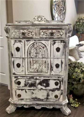 CARVED WOOD ANTIQUE FRENCH VICTORIAN DISTRESSED CHEST OF DRAWERS URNS CORBELS