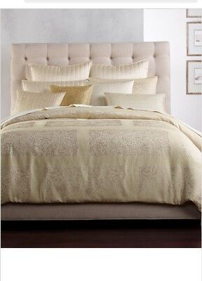 Hotel Collection Patina King Duvet Cover Gold Tone Textured Jacquard $420