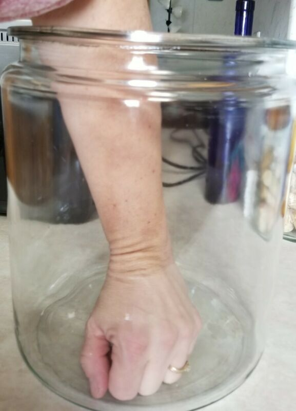 """Vintage Huge Glass Jar Jug XL Size 10.50"""" Tall HEAVY and SOLID"""