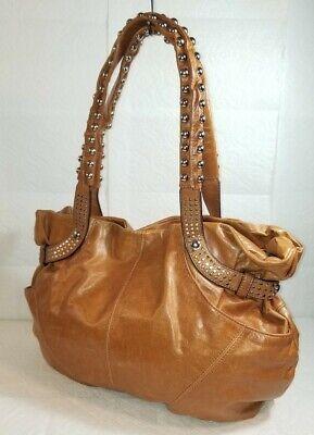 B. MAKOWSKY Tan Leather Studded Hobo Shoulder Purse Handbag