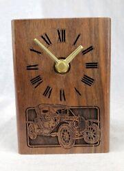 Vintage 1988 Wood Lasercraft Desk Clock Antique Car Automobile Laser Engraved