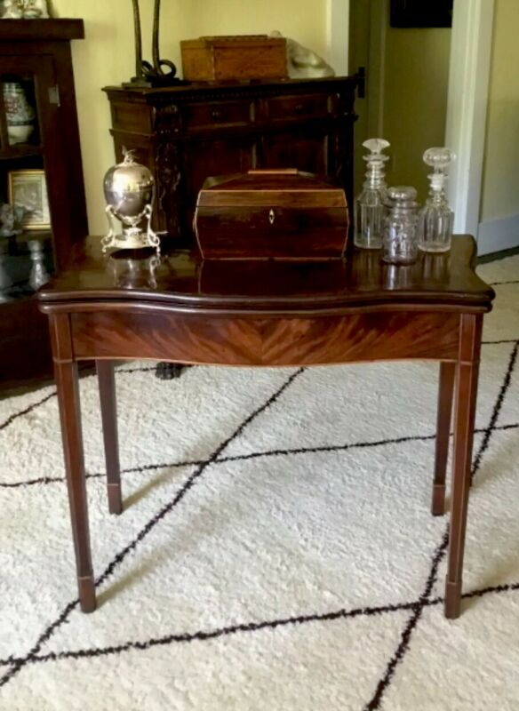 Period Georgian English Mahogany Games Table Antique 18th Century Secret Drawer