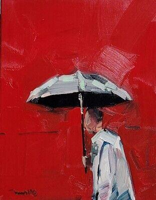 JOSE TRUJILLO Oil Painting IMPRESSIONISM FIGURE UMBRELLA MODERN FINE ART RED NR
