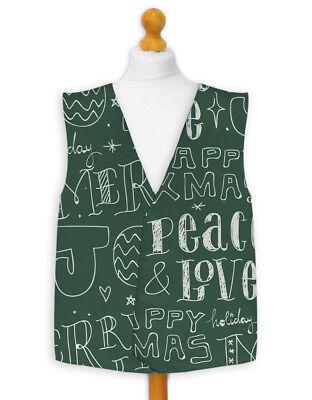 Weihnachten Weste (Weihnachten Neuheit Weste Kostüm Spass Legere Freude und Frieden rot oder grün)