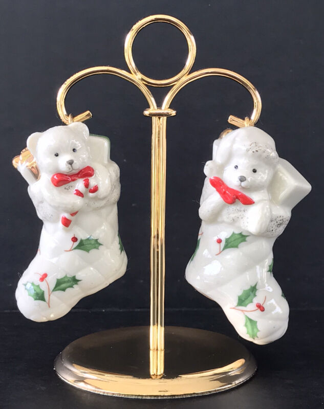 Lenox Christmas Salt and Pepper Shakers Hanging Stockings With Holder