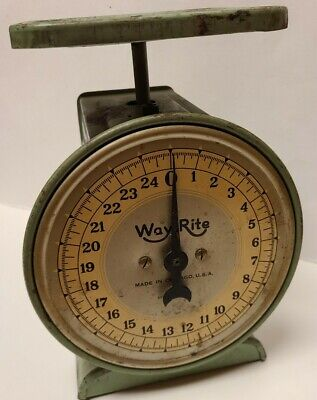 VTG Antique WAY RITE Kitchen Scale Weight Olive Green 25 Lbs Working -FREE SHIP-
