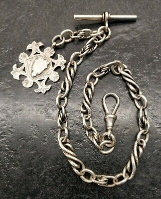 Antique Chester Silver Ornate Link Albert Pocket Watch Chain & Fob, By E.P.