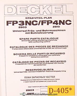 Deckel Fp3nc Fp4nc Universal Tool Milling Boring Spare Parts Manual 1985