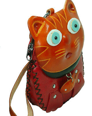 Genuine Leather Wristlet Bag Change Coin Purse Wallet  A Cat Holding A Fish