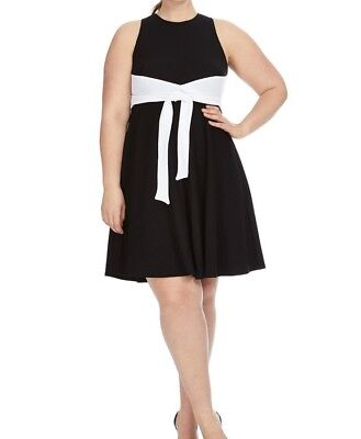 Hutch Sleeveless Jersey Tie Detail Color Block Fit And Flare Dress Size 1X (Jersey Sleeveless Tie)